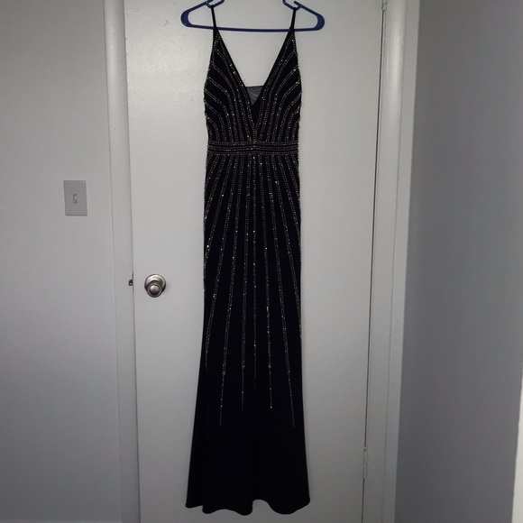 Xscape Dresses & Skirts - Navy long formal prom dress with copper beading